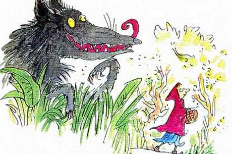 Illustration from Revolting Rhymes by Roald Dahl, illustrated by Quentin Blake