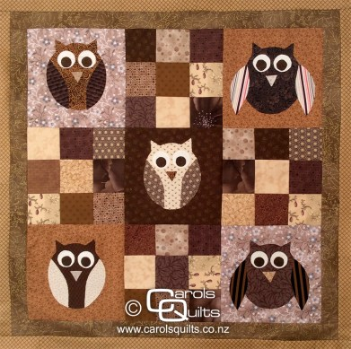 Brown owl quilt made with the Carols Quilts Owl Templates