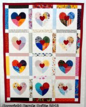 Hearts in 4 made of scraps good