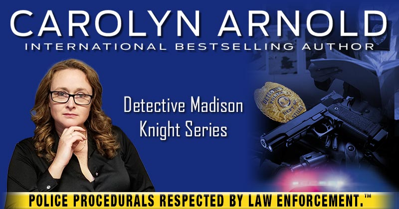 Madison Knight and a police car silhouette with light flashing. Stiles Police Detective badge with yellow tape - POLICE PROCEDURALS RESPECTED BY LAW ENFORCEMENT.TM