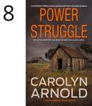 Power Struggle by Carolyn Arnold, rundown barns in a field with a stormy sky.