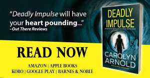 Deadly Impulse by Carolyn Arnold Read Now, silhouette of a woman standing in a vortex tunnel with memory flashbacks