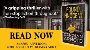 Found Innocent by Carolyn Arnold Read Now, a woman in a yellow overcoat running down an alley at night