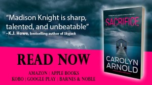 Sacrifice by Carolyn Arnold Read Now, a boathouse at the end of a dock sitting in a frozen river under a cloudy sky