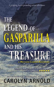 The Legend of Gasparilla and His Treasure by Carolyn Arnold pirate ship on a blue map background with Spanish gold and silver coins.
