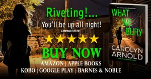 What We Bury by Carolyn Arnold Buy Now, woman running down a dark alley at night