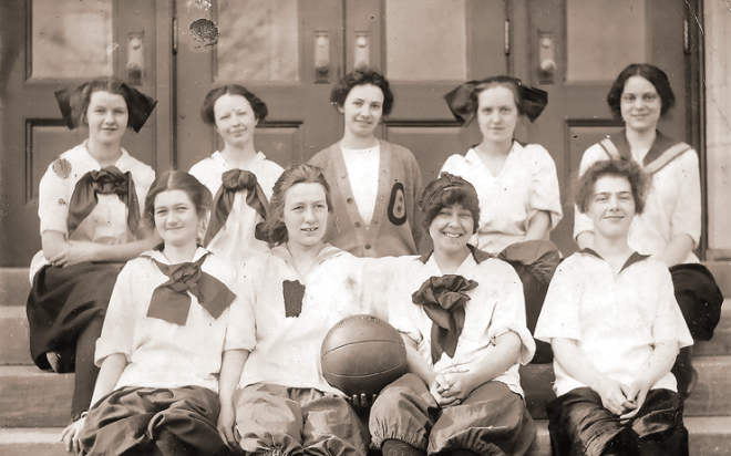 Ruth Smilie Adair and her basketball team. Ruth is the one with the biggest bow and the biggest smile