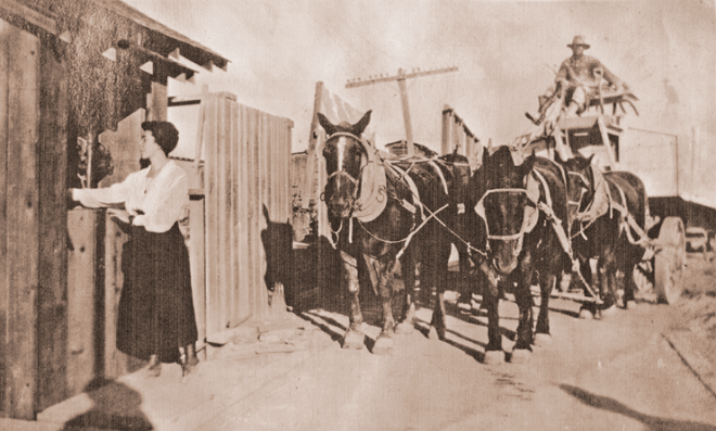 Ruth, in 1914, weighing the horse-drawn wagons at the Celite mine.