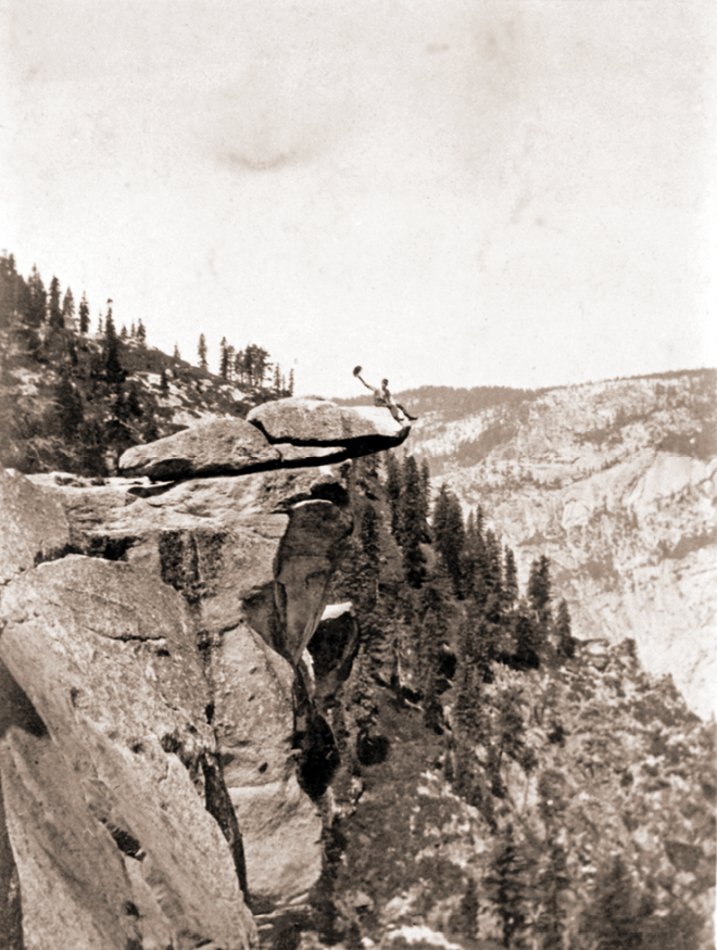 Sam Robinson  on Glacier Point in Yosemite, 1919 (Photo taken by Ruth Smilie Adair—he's waving at Ruth)