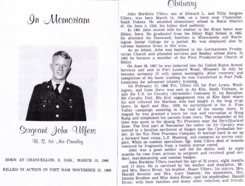 John Ulfers Memorial Obituary
