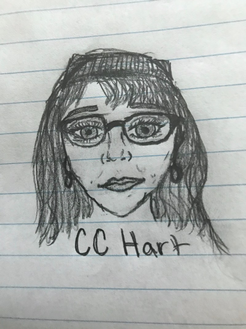 A high school student's illustration of neurodiversity advocate Carolyn CC Hart. Ms. Hart delivers presentations on synesthesia, ADHD, Autism, and other neurodiverse traits.