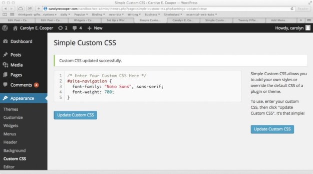 The Simple Custom CSS plugin editing form