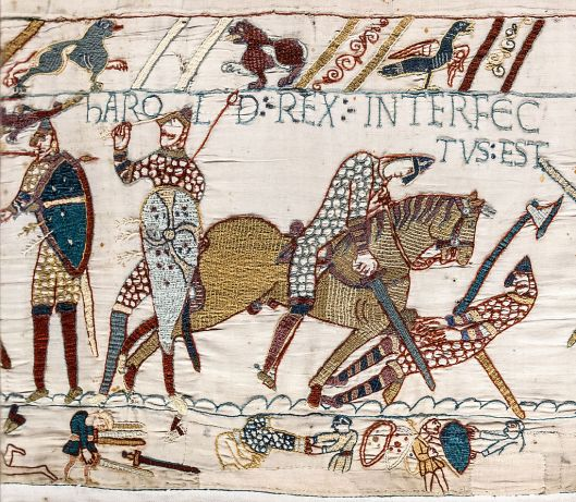 "Scene from the Bayeux Tapestry depicting the Battle of Hastings: ""Harold Rex Interfectus Est: ""King Harold was killed""."
