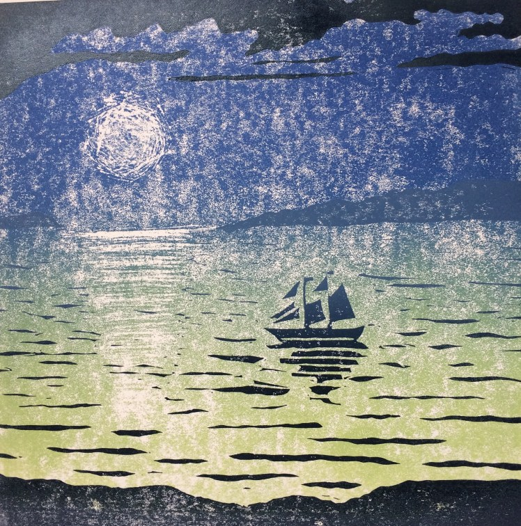 Image of Carolyn Murphy's 20:20 print exchange linocut 'Adjusting the Sails'