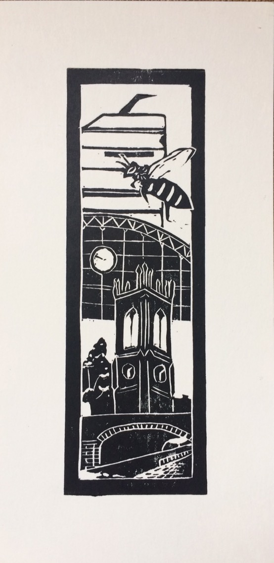 Image of Manchester Old & New II, a new linocut by Didsbury printmaker Carolyn Murphy