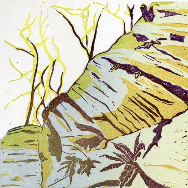 Image of 'In the Woods' an original linocut by Carolyn Murphy