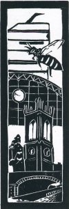 Image of 'Manchester Old & New II' original linocut by Carolyn Murphy