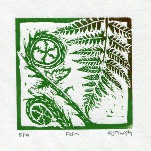 Image of Fern 2, a linocut mini-print by Carolyn Murphy