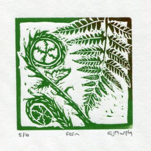 Image of Fern 2, a linocut mini-print by Carolyn Murphy