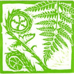 Image of Carolyn Murphy's Fern mini linocut