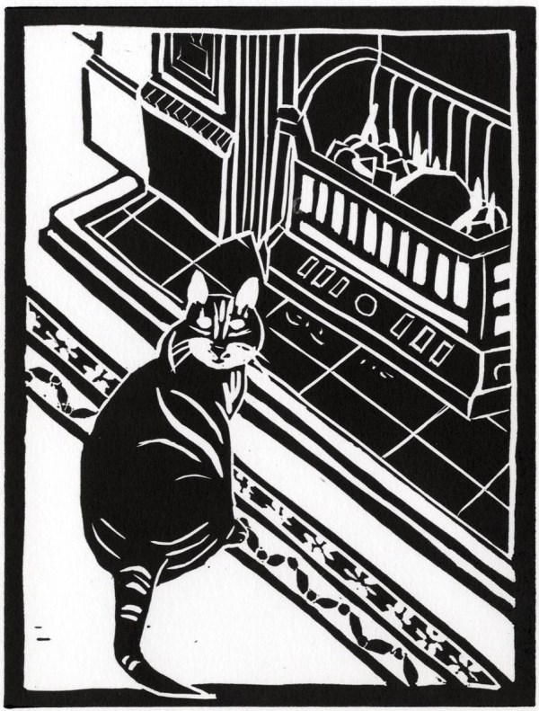 Image of Carolyn Murphy's linocut Home, featuring a cat by a fire