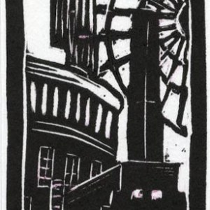 Image of Carolyn Murphy's 'Manchester Old & New I' linocut