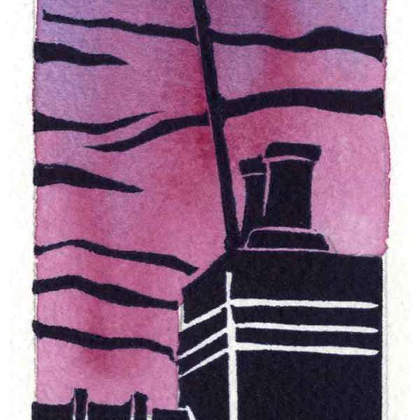 Image of an original linocut by artist Carolyn Murphy 'Rooftop' in rose.
