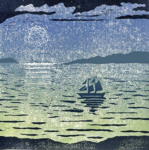 Image of a linocut of a seascape and ship by artist Carolyn Murphy entitled 'Adjusting The Sails'