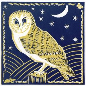 Image of a linocut of a barn owl by artist Carolyn Murphy