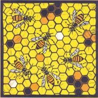 Image of a linocut of bees by artist Carolyn Murphy called 'Hard at Work'
