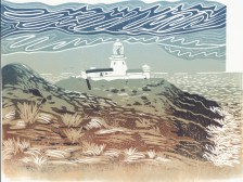 Image of a linocut by artist Carolyn Murphy entitled 'Strumble Head Lighthouse'