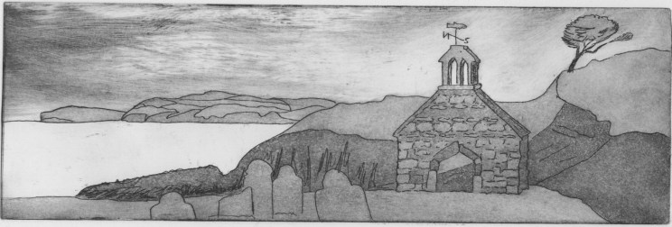Image of an etching by Carolyn Murphy showing Cwm-yr-Eglwys in Pembrokeshire