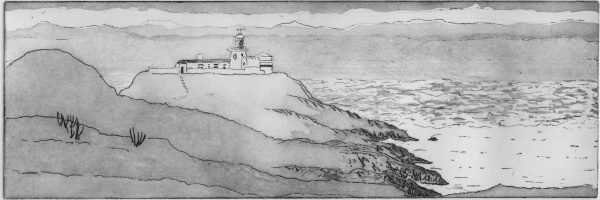 Image of an etching of Strumble Head lighthouse by Carolyn Murphy