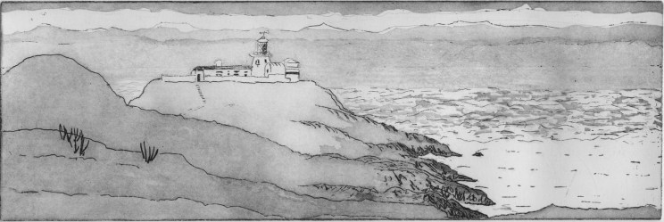 Image of artist Carolyn Murphy's etching 'Strumble Head Lighthouse'
