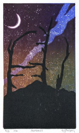 Image of Carolyn Murphy's original linocut 'Darkness'