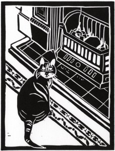 Image of linocut by Carolyn Murphy depicting a cat in front of an open fire, entitled 'Home'
