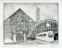 Image of Carolyn Murphy's original etching called 'I love Manchester 2012'