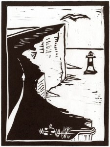 Image of a linocut by Carolyn Murphy, showing a cliff top path, titled 'Long Walk'