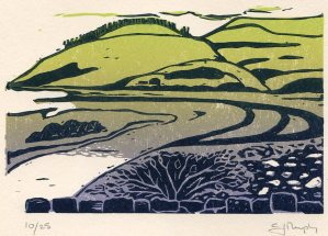 Image of linocut 'Meandering' by Carolyn Murphy