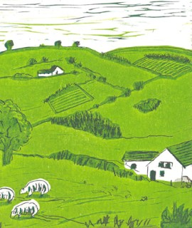 Image of a linocut with etching by Carolyn Murphy titled 'No beaten path'