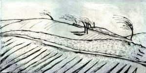 Image of a Carolyn Murphy collagraph titled 'Windswept'