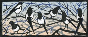Image of artist Carolyn Murphy's linocut of magpies called 'A Secret'