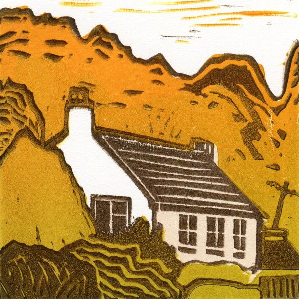 Image of artist Carolyn Murphy's original linocut of a small cottage called 'Autumn Hideaway'