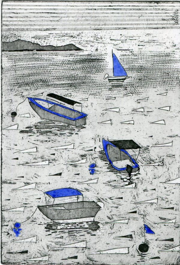 Image of 'Little Boats', a variable limited edition etching by artist Carolyn Murphy