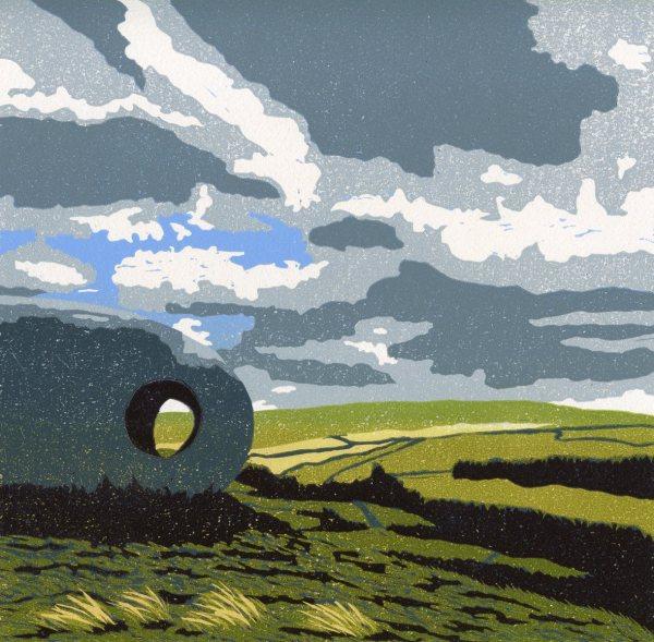 Image of 'Atom' original linocut by Carolyn Murphy