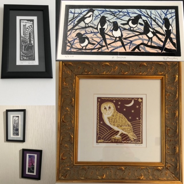 Image of framed work by Carolyn Murphy on the wall