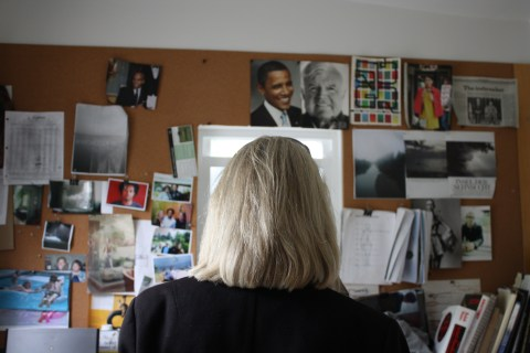 My mother sneaks into Andre's painting studio, a separate little room off his studio, which is separate from the main house.