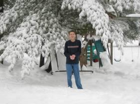 Luke ready to throw a snowball