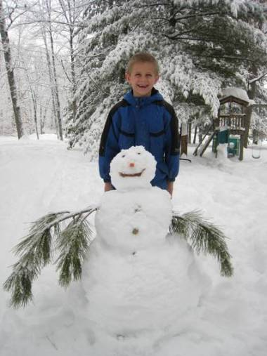 Zachary and the snowman he made today