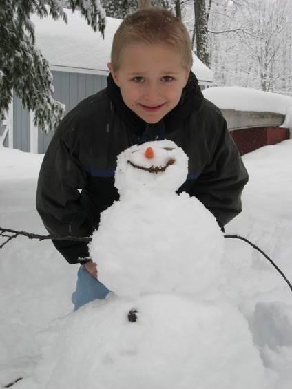 Josiah and his snowman
